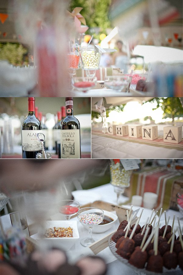 Outdoor summer wedding reception with DIY details and delicious candy bar