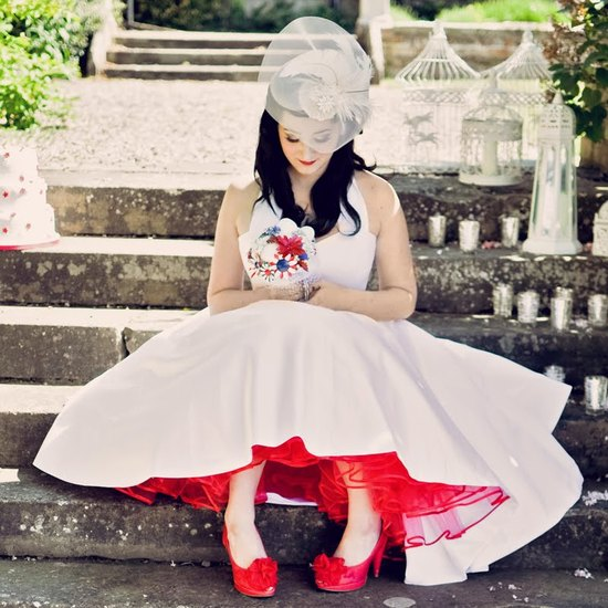 Offbeat Vintage Bride With Brooch Bouquet And Red Petticoat