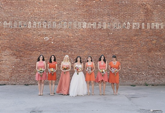 orange and coral mix and match bridesmaids