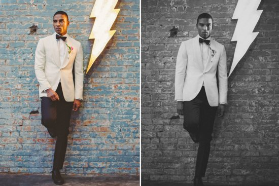 Groom wears ivory and black tuxedo with classic black bow tie
