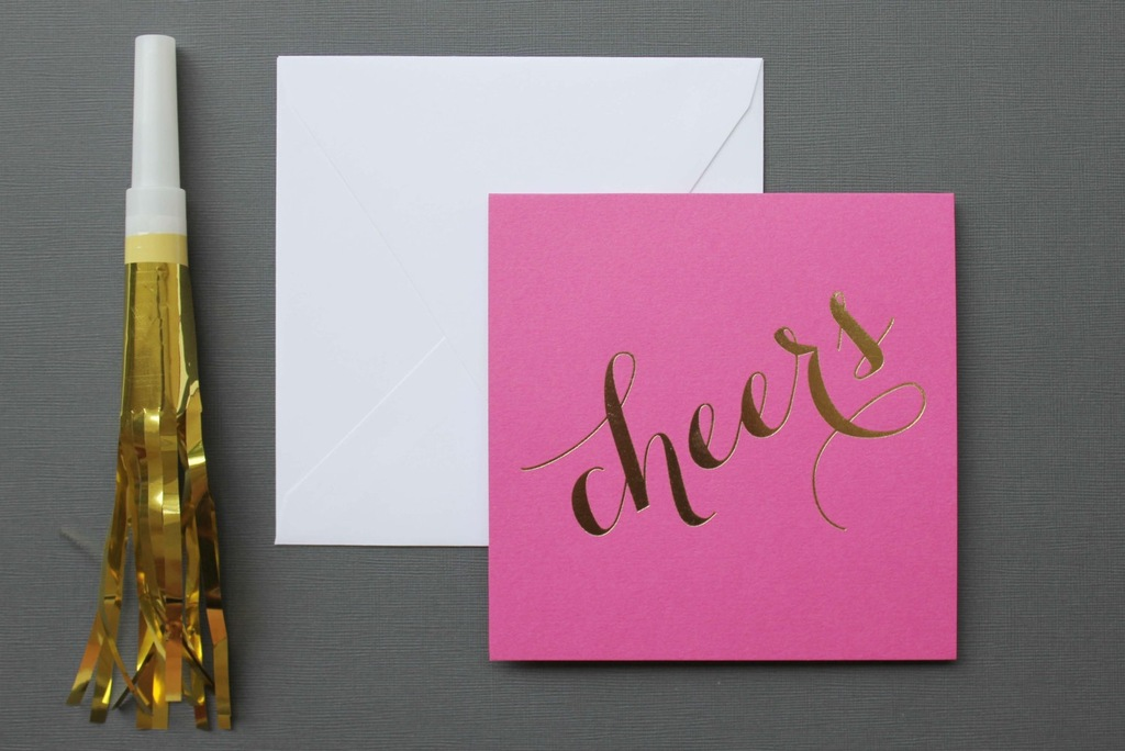 pink with gold foil Cheers wedding paper
