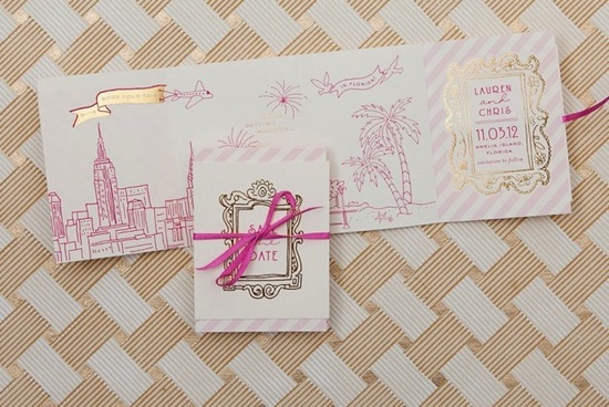 gold foil and fuschia foldout wedding invitation