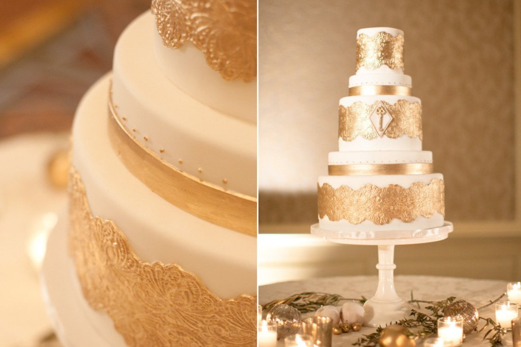 wedding cake gold foil ivory wedding cake with gold foil accents onewed 22777