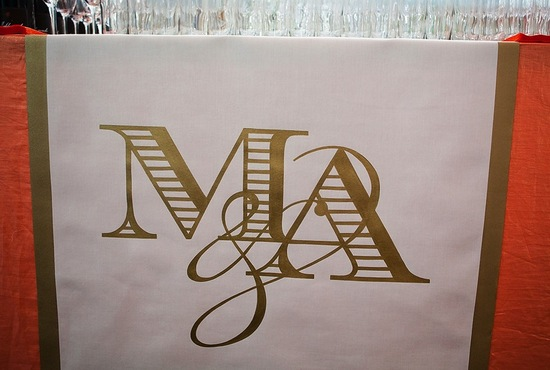 gold and white monogram wedding reception table linens
