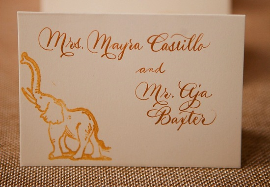 whimsical ivory and gold foil wedding escort cards