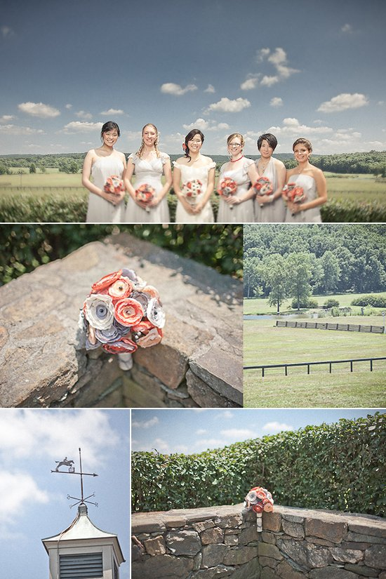 Mix and match bridesmaids dresses, outdoor wedding venue, romantic bridal bouquet