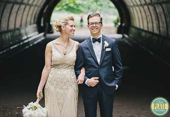 Geek chic groom in deep navy and black tuxedo