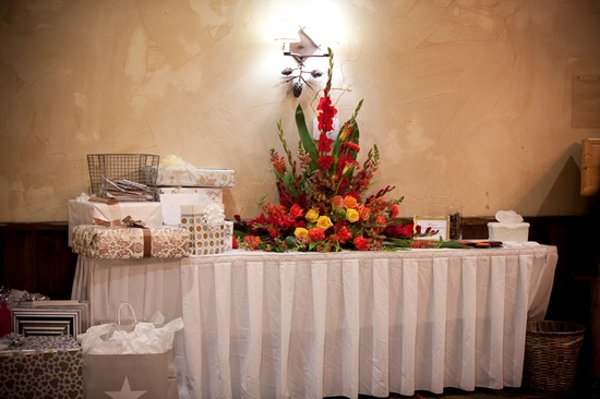 Classic Cranberry Wedding Gifts table