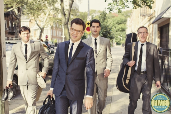 retro inspired groom and groomsmen attire
