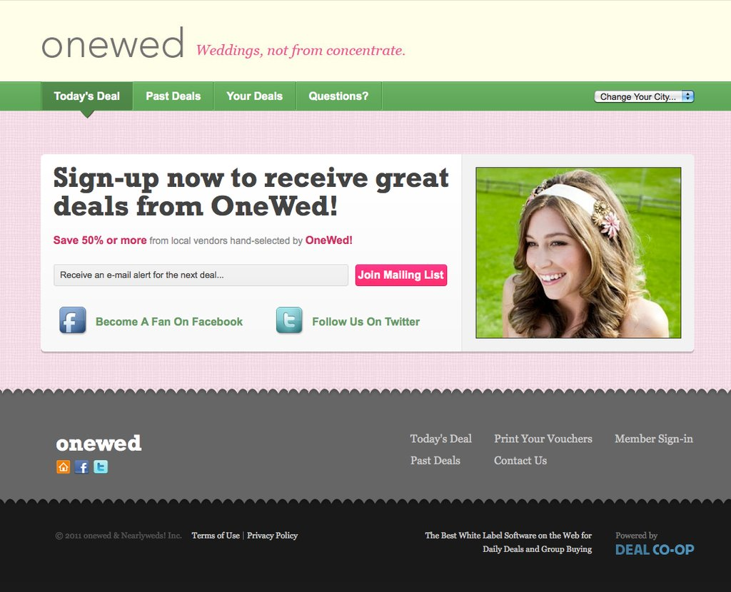 OneWed.com launches daily deals for budget brides!