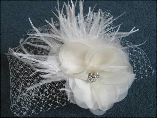 Affordable bridal fascinator featuring feathers, pearls and French net