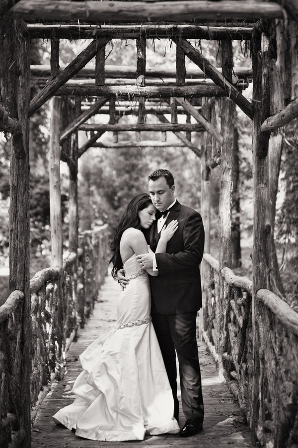 Artistic black and white wedding photo