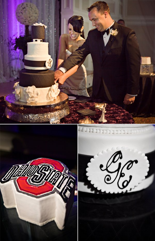 Bride and groom cut wedding cake, groom reps alma mater with groom's cake