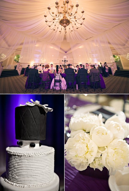 Ivory wedding flowers, black and white wedding cake
