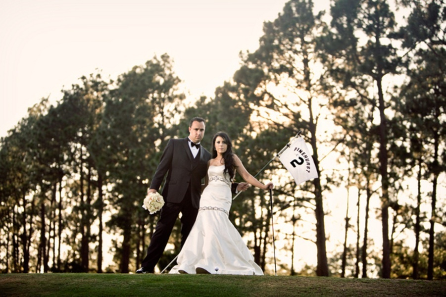 Real wedding in North Carolina on a golf course