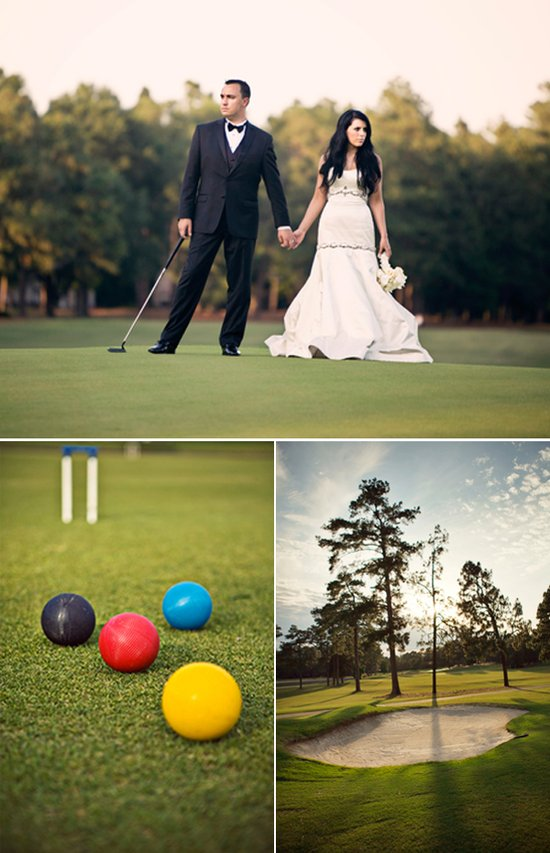 Elegant bride and groom pose on golf course wedding venue