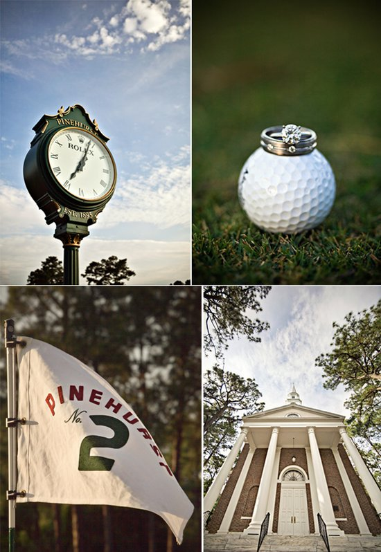 Bride gifts groom wedding watch, engagement ring and wedding bands photographed on golf ball