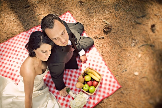 Bride-groom-pose-in-wedding-attire-on-picnic-blanket-outside-wedding-venue.full