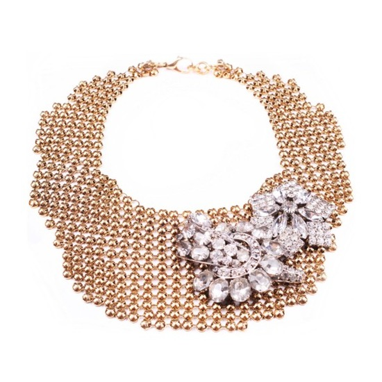 Gold mesh bridal necklace with dazzling vintage brooch detail