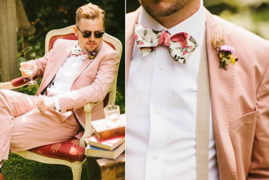 Dapper daring groom wears pale peach suit and bow tie