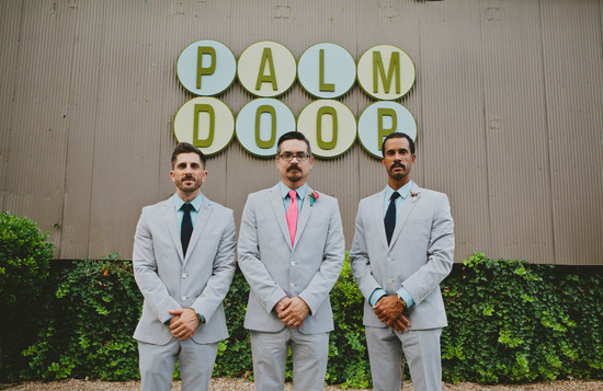pale gray suits with checkered shirts and bright ties grooms attire