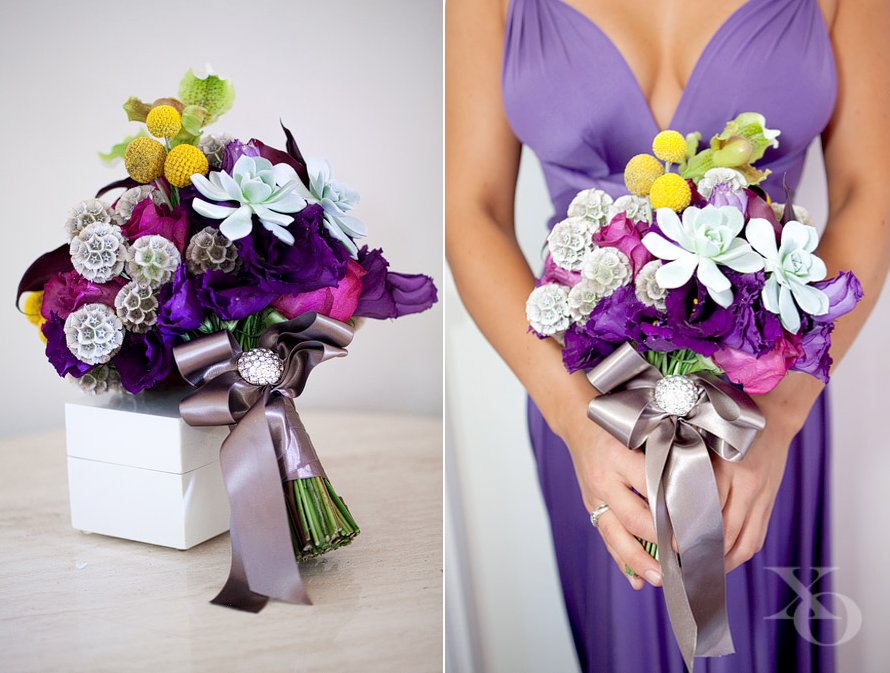 Whimsical bridesmaid bouquet of succulents, billy balls and more