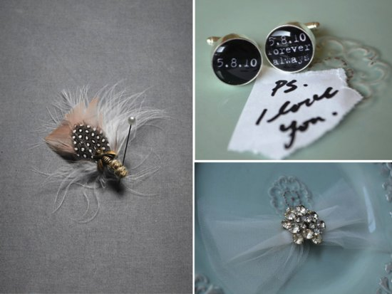 Whimsical groom's boutonniere, cufflinks and bride's wedding hair accessory
