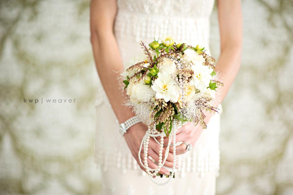 Whimsical Wedding Flowers Pearl Draped Bridal