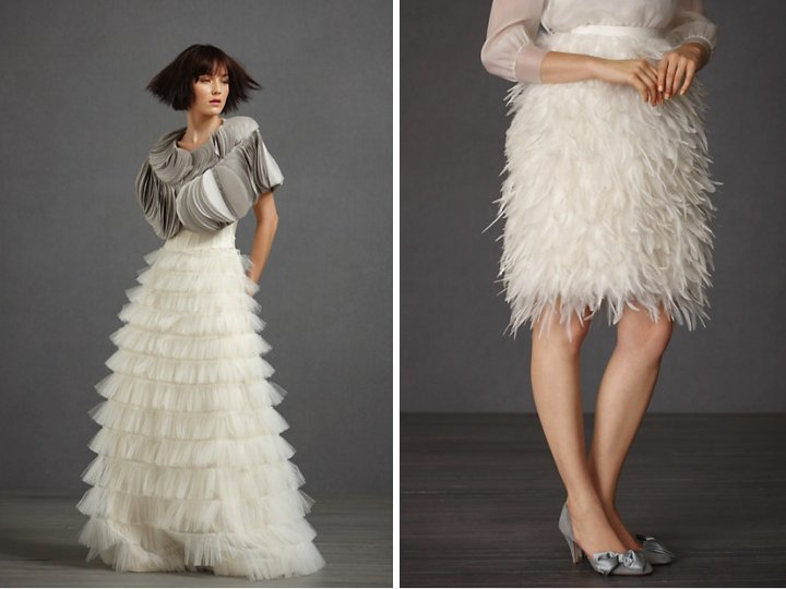 BHLDN bridal accessories- layered bridal bolero, feather-embellished skirt