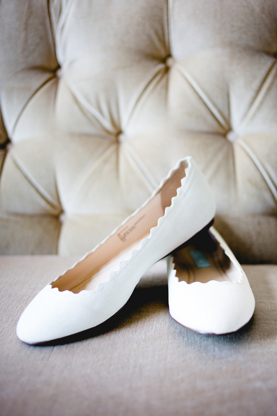 Rustic elegant real wedding white ballet flats bridal shoes
