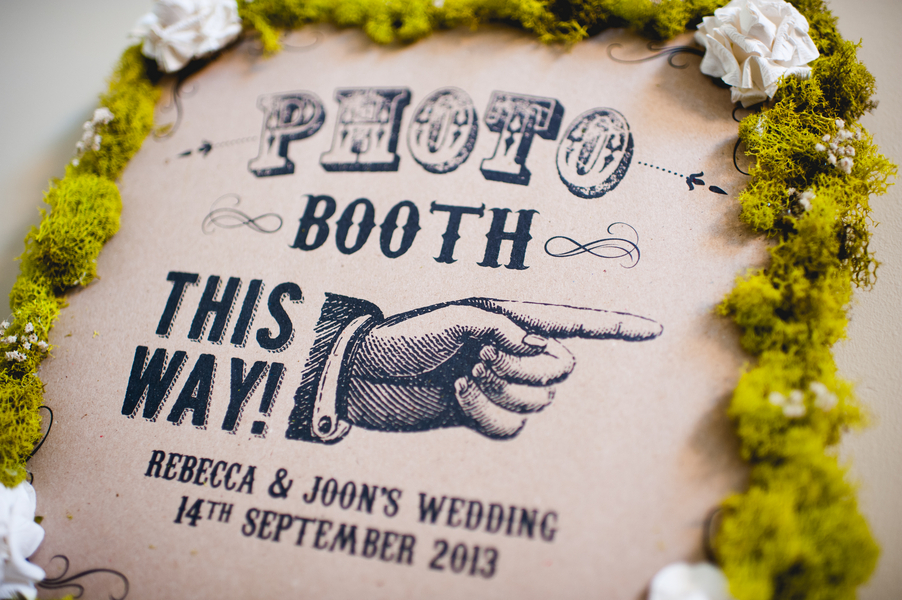 Rustic Elegant Wedding DIY Photo Booth Sign With Moss And Kraft Paper