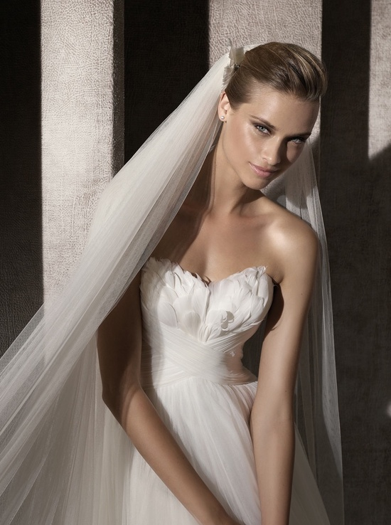Pronovias 2012 bridal gown with feather-embellished neckline