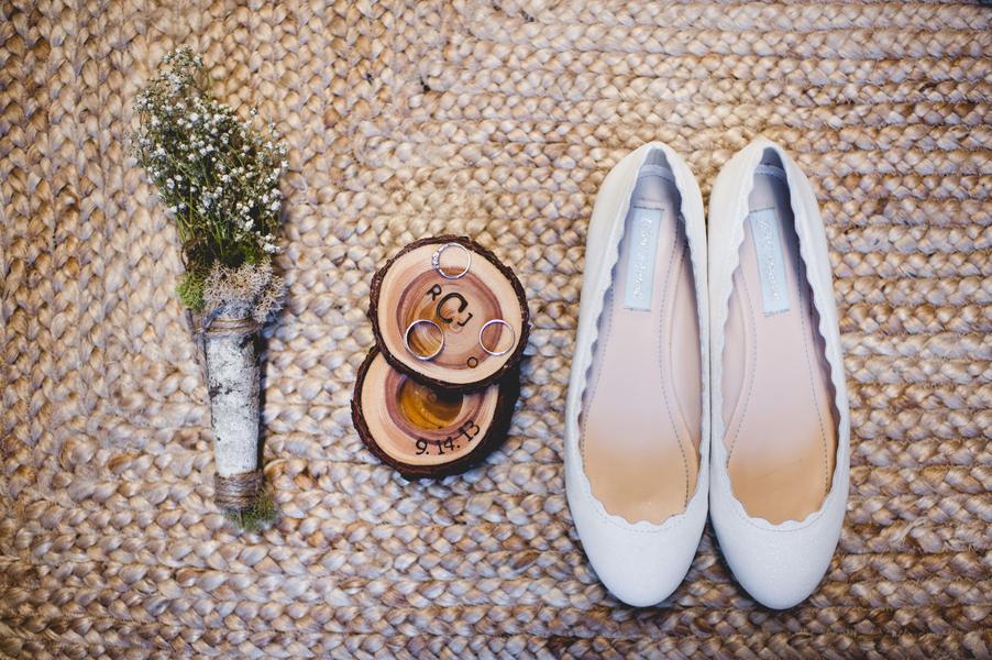 rustic elegant real wedding white ballet flats bridal shoes