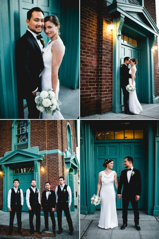 Bride wears simple white silk wedding dress with draped cowl neckline