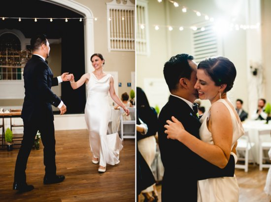 Rustic elegant wedding bride and groom first dance