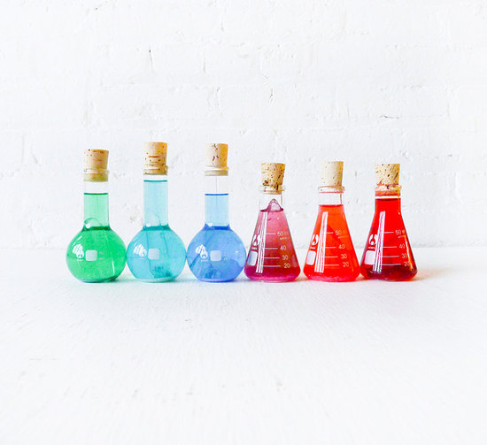 colorful beakers for geek chic weddings