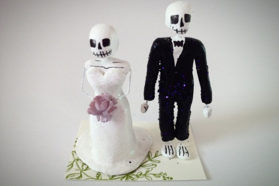 Day of the Dead bride and groom wedding cake toppers