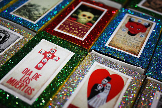 Day of the Dead glittery wedding favor boxes