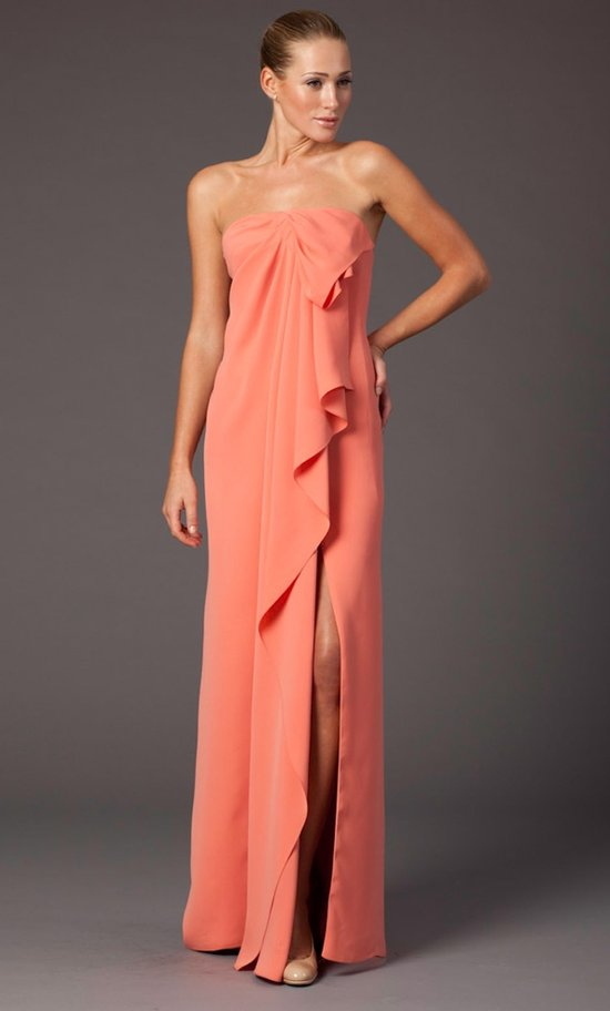 Coral sheath bridesmaid gown