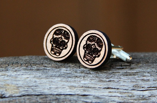 wood skull groom cuff links