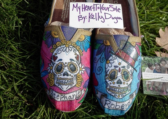 Custom Day of the Dead Toms wedding shoes