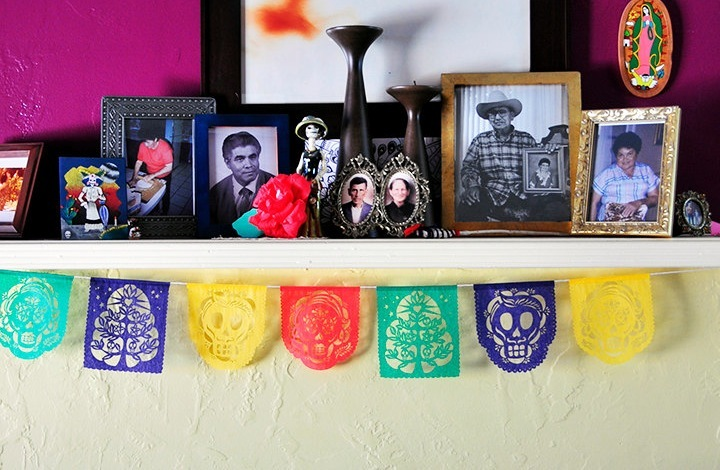 Bright day of the dead wedding bunting