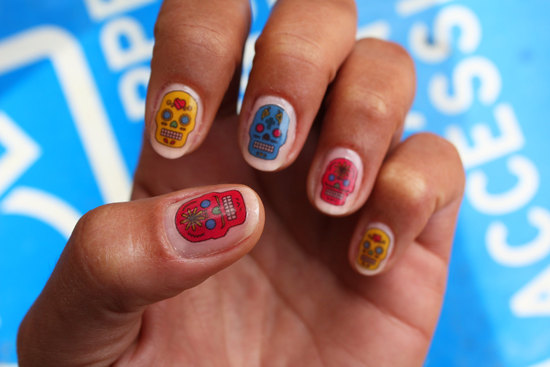 day of the dead nails for brides or bridesmaids
