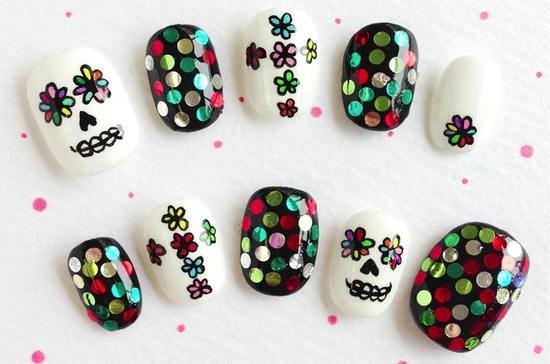 bright and whimsical wedding nails for Day of the Dead