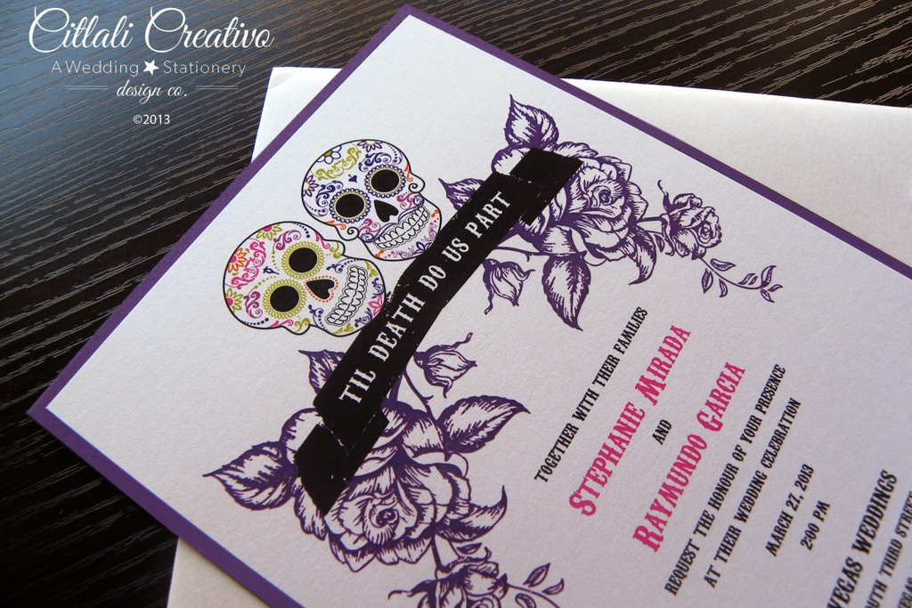 white black and pink wedding invitations for Day of the Dead