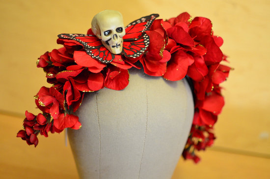 Red wedding hair wreath with butterfly and skull accent