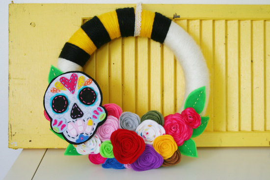 handmade wedding wreath for Day of the Dead weddings
