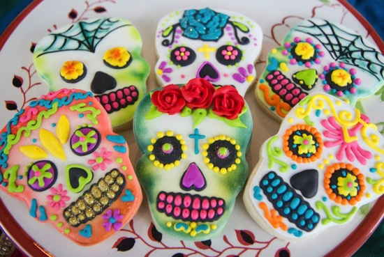 colorful skull sugar cookies for Halloween wedding favors