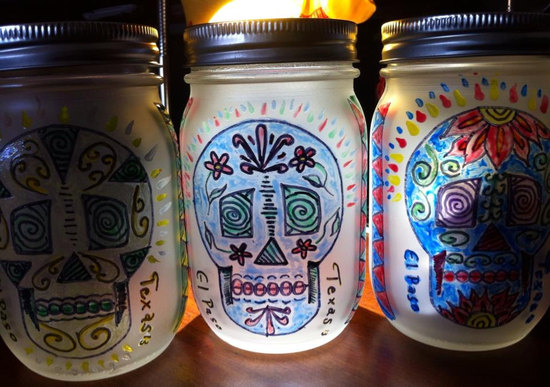 Day of the Dead painted mason jars wedding decor