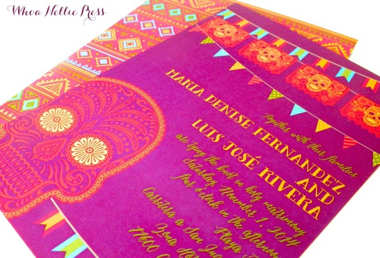 bright day of the dead wedding invites